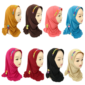 Image 2 - Muslim Girls Hijab Kids Wrap Shawl Islamic Head Scarf Amira One Piece Hijab Cap