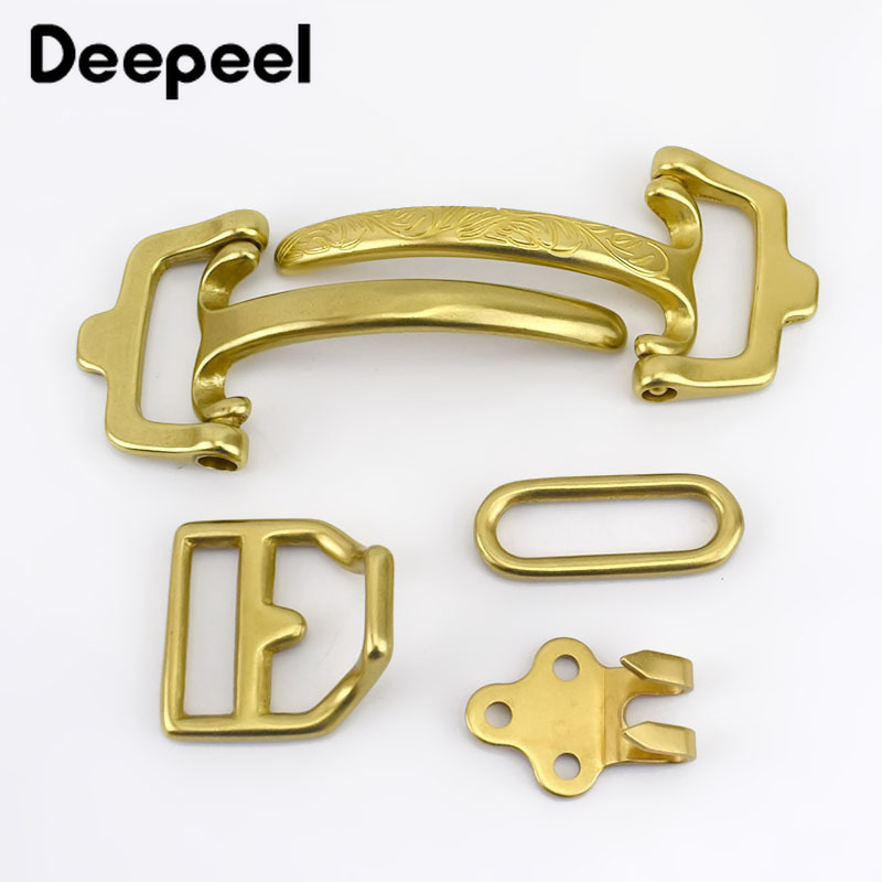Deepeel1Set=4pcs Solid Brass Belt Buckle Cavalry Bag Buckle DIY Handmade Metal Craft For 38mm Belt Hardware Material Accessories