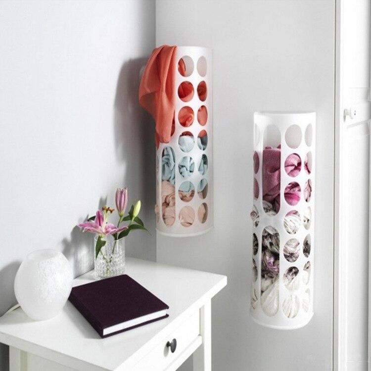 Настенный подвесной держатель мусора, пластиковый складной держатель мешков для мусора, коробка для хранения мусора, корзина для переработки, кухонный Органайзер - Цвет: White-1pc
