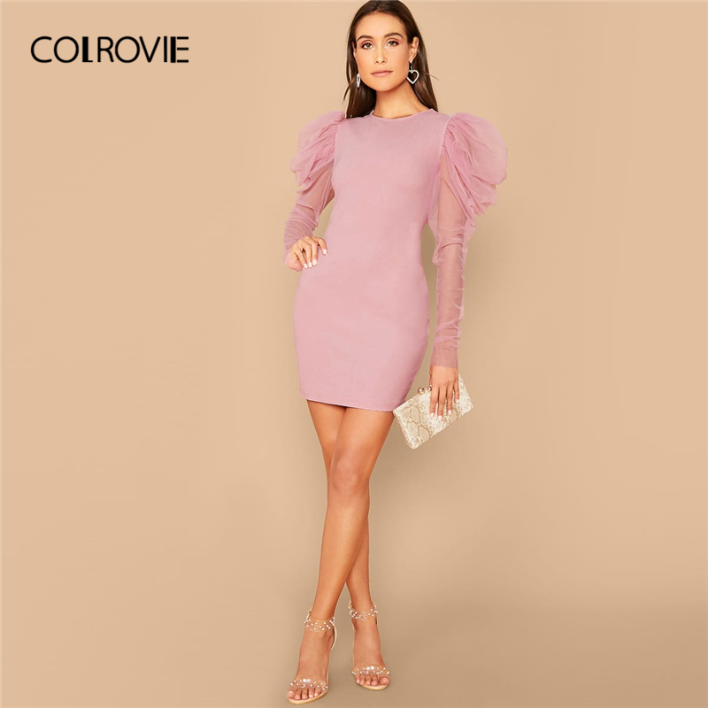 COLROVIE Pink Mesh Gigot Sleeve Bodycon Dress Women Sheer Sexy Backless Mini Dress 2020 Spring Slim Elegant Pencil Dresses