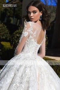 Image 2 - KEENRYAN Sexy Lace Wedding Dress 2020 Long Sleeve Scoop Robe De Mariee Custom Make Chaple Train Vestido De Novia Wedding Gowns