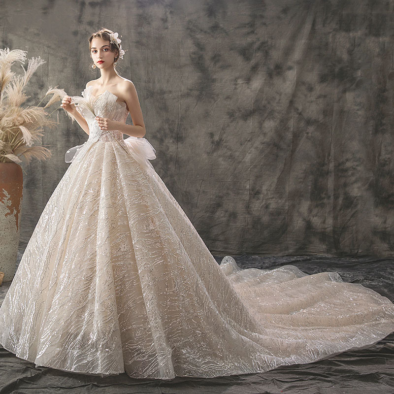 SERMNET Luxury Wedding Dress 2019 New French Light Women's Dress Bride 100cm Trailing Sen Simple Large Size Widened Spot