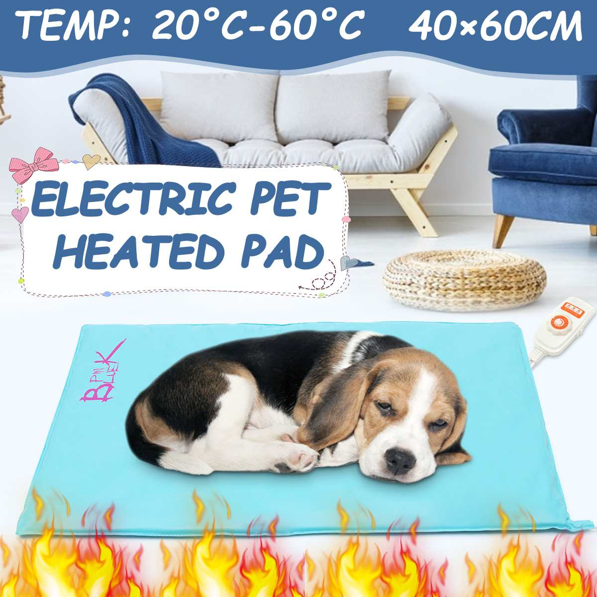 Electric Heating Pet Bed Adjustable Heating Pads Waterproof Dog Cat Blanket Pet Bed 10 Level Heated Mat Winter Warm For Cat Dog
