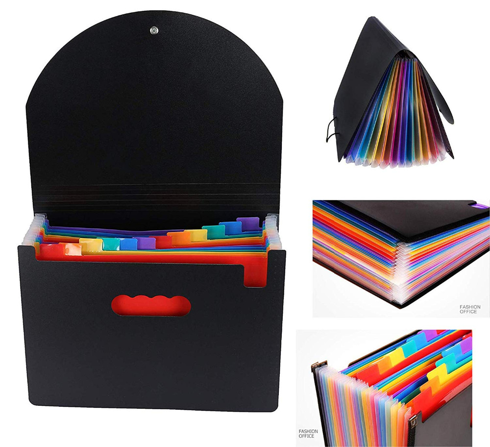 Expanding A4 for File Holder  Office Supplies Plastic Rainbows Organizer A4 Letter Size Portable Documents Holder Desk Storage 6