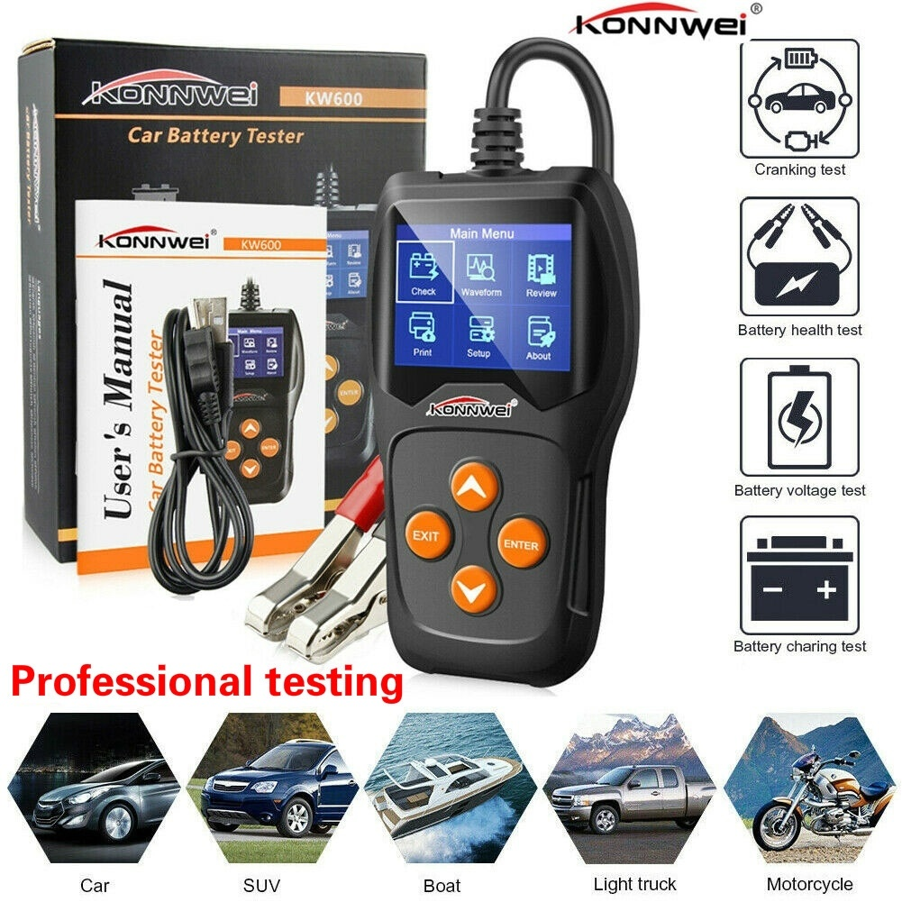 Car Diagnostic Scanner Battery Tester 12V Digital Color Screen Cranking Charging Alternator Tester For Car/Boat/Motorcycle