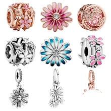 2020 novo 925 prata esterlina espumante margarida flor charme grânulo ajuste pandora pulseira pulseira feminino jóias presente