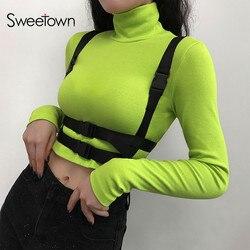 Sweetown Neon Kleur Herfst Tshirt Patchwork Gesp Safari Stijl T Shirts Vrouwen Gebreide Coltrui Lange Mouwen Crop Top Tee Shirt