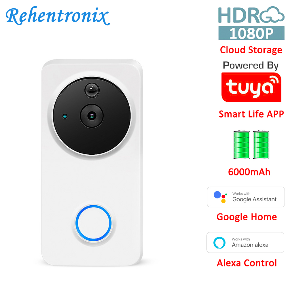 Works With Alexa Google Chromecast 1080P Battery Powered Smart WiFi Smart Video Doorbell Tuya Cloud Storage Doorbell Camera