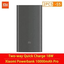 Original mi Xiaomi Power Bank 10000mAh Pro Type C External Battery portable charging 10000mAh Two way Quick Charge 18W Powerbank