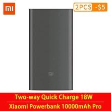 Original mi xiaomi power bank 10000 mah pro tipo c bateria externa portátil de carregamento 10000 mah em dois sentidos carga rápida 18 w powerbank