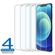 QJW 4pcs Tempered Glass for Iphone 11 12 Pro Xs Max x Xr Front Cover Screen Protector 7 8 6 S Plus Protective Glass Film Cover