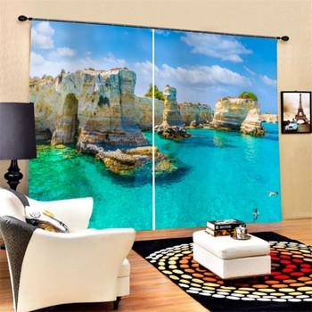 Custom Summer Ocean View Lvingroom Decor Curtains 2 Panels Sky Plam Tree Print Blackout Drapes for Bedroom Hotel Dropshipping