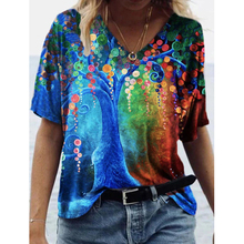 Print Harajuku Summer Casual Women Clothes Short Sleeve Loose Tshirts Street Hipster Tee Shirts V Neck Tops Femme T-shirt 2021