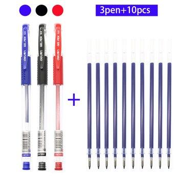 Deli Bullet 0.5mm Gel Pen School Office Accessories Black / Red / Blue Pen Ink Gel Pen Rechargeable Stationery Gift Gel Pen