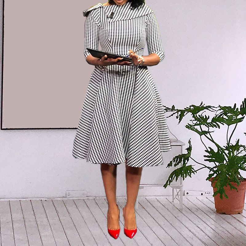 African Fashion Vintage Dot Print Dress Elegant Retro Chic Seven Quarter Sleeve A Line Dress Office Lady Formal Business Dress in Dresses from Women 39 s Clothing