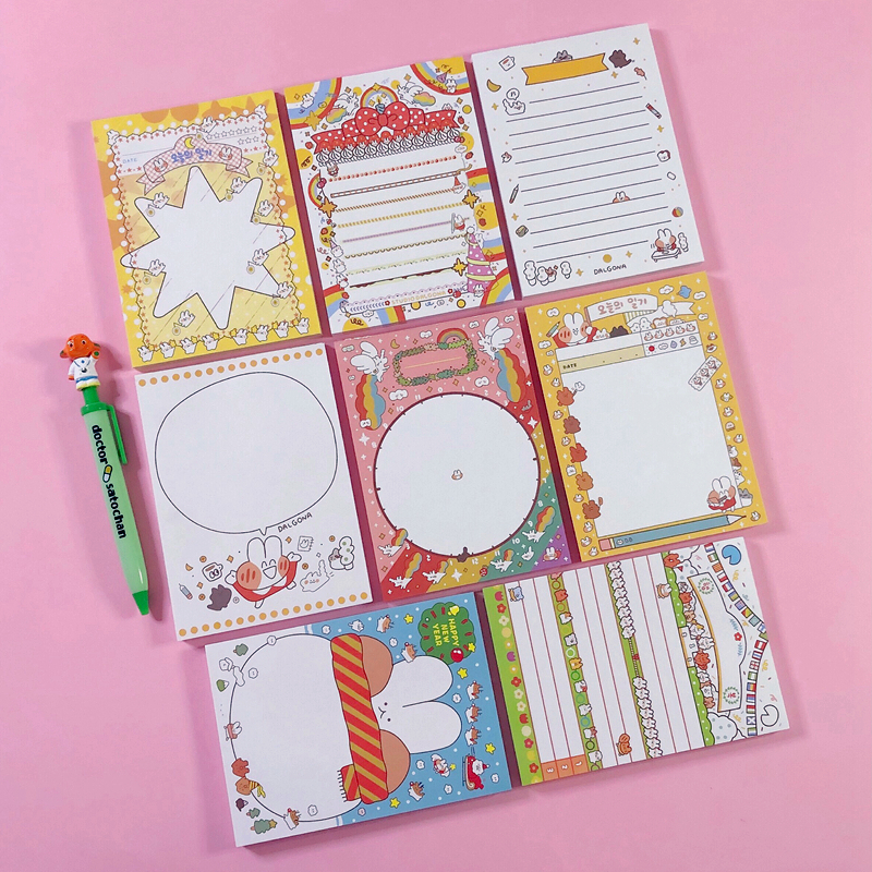 80Sheets/Lot Kawaii Korean INS Cute Rabbit Star Large Memo Pad N Times Sticky Notes Portable Notepad School Office Supply