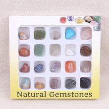 20 pçs/set Caixa de Pedras Naturais Fósseis de Matérias-primas Minerais Cristais Ágatas Espécime Para A Educação Em Casa Decorações