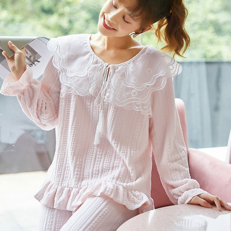 JULY'S SONG Flannel Women Pajama Sets Sleepwear Air Cotton Winter Pajamas Thick Warm Lace Long Sleeves Full Trousers Homewear 29