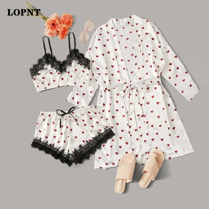 LOPNT 3 PCS Pajamas Women Sexy Contrast Lace Heart Print Satin Robe Wireless Bra Camisole Shorts Stripe Home Clothes For Women