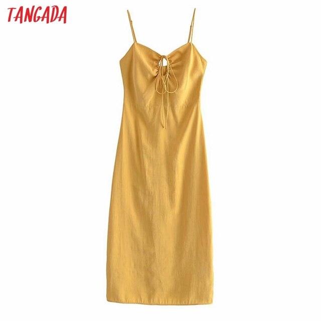 Tangada Women Yellow Sexy Party Dress Sleeveless Backless 2021 Fashion Lady Midi Dresses Robe 3H140 1