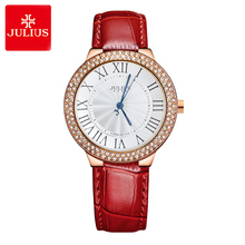 Julius Lady Women's Wrist Watch Quartz Hours Best Fashion Dress Korea Bracelet Leather Rome Rhinestone Girl Birthday Gift 686 цена