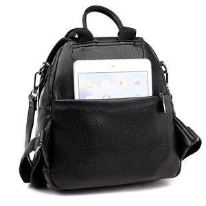Image 5 - Серый рюкзак для женщин 2020, кожаный рюкзак большой емкости, женский рюкзак, сумка через плечо для молодых сумок