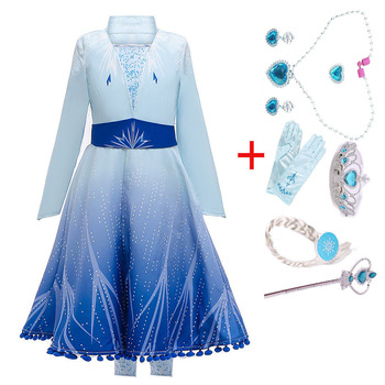 2019 New Anna Elsa 2 Dress Girls Princess Christmas Set Cosplay Elza Birthday Party Sky Blue Princess Dress For Children Dresses baby girls dress christmas anna elsa cosplay costume summer dresses girl princess elsa dress for birthday party vestidos menina