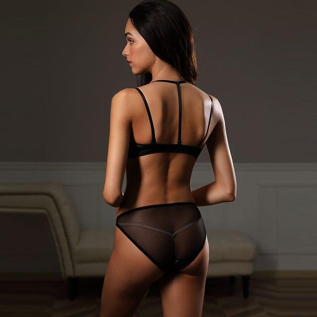 Sexy Push Up Front Closure Lingerie Set strapless bra Black Wirefree Underwear 3/4 cup brassiere Women Bralette