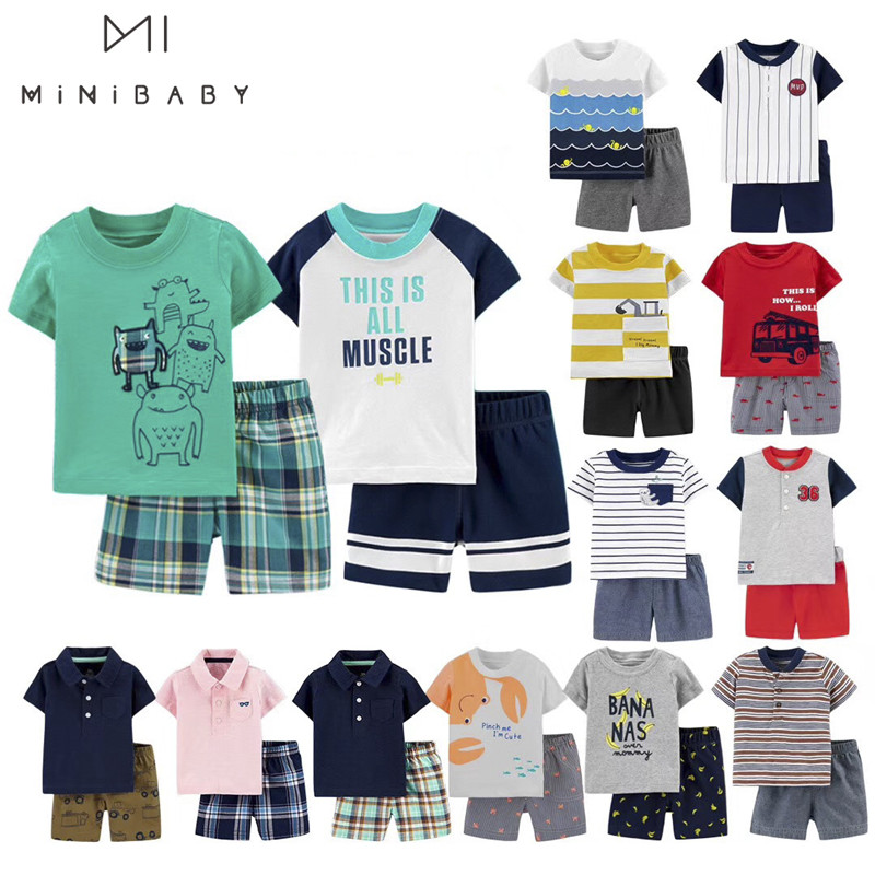 Brand Summer Boys Baby Clothing Sets Short Sleeve Baby Boy T Shirt + Pants  0-3 Years Baby Sets Cotton Children Suit Infantil