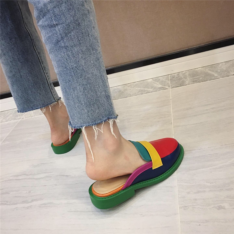 NIUFUNI Fashion Rainbow Color Women's Slippers Shallow Casual Slides Round Head Flat Shoes Slip On 2020 Summer Beach Shoes 4