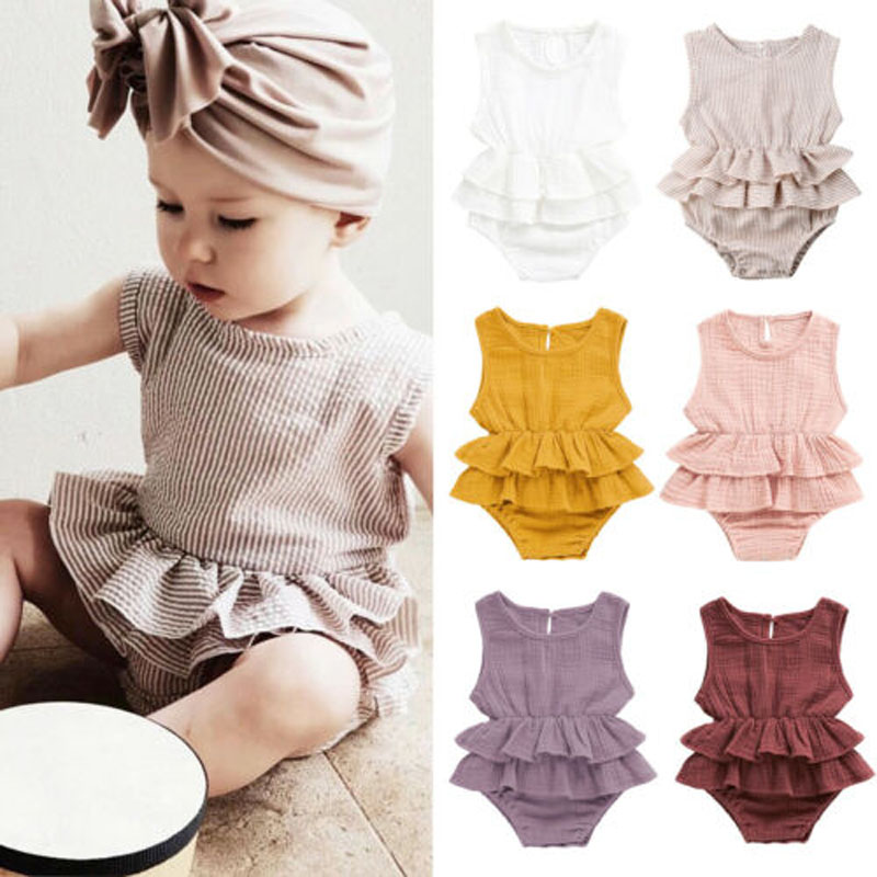 Pudcoco US Stock Cute Newborn Kid Baby Girl Clothes Sleeveless Bodysuit Dress Cotton&Linen 1PC Outfit