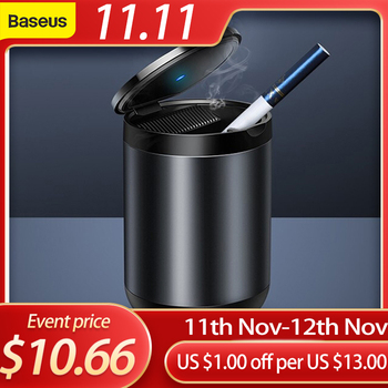 Baseus Car Ashtray LED Light Alloy Ash Tray Aluminum Cup Portable Smokeless Auto Flame Retardant Cigarette Holder Box