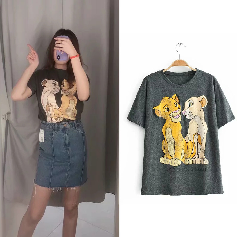 Summer 2019 Fashion green Graphic   Shirt     T     Shirt   O-neck Women Clothes The Lion King Cotton Tee Clothes Regular tops Streetwear