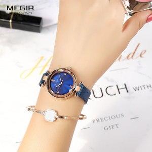 Image 4 - MEGIR Relógio de Luxo Mulheres Marca de Topo Vestido À Prova D Água Relogio feminino Malha Azul Milan Pulseira Moda Relógios de Quartzo Senhora 4211