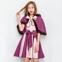 Costume Alice Lolita Princess-Dress Cosplay Wonderland Girls Sweet Cute Cat Women Purple