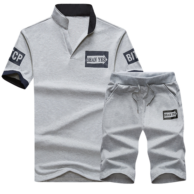 Men's Thin Running Youth Solid Color Printing V-neck Sports Suit Jogging Male Sport Shorts Tracksuit Fitness Set