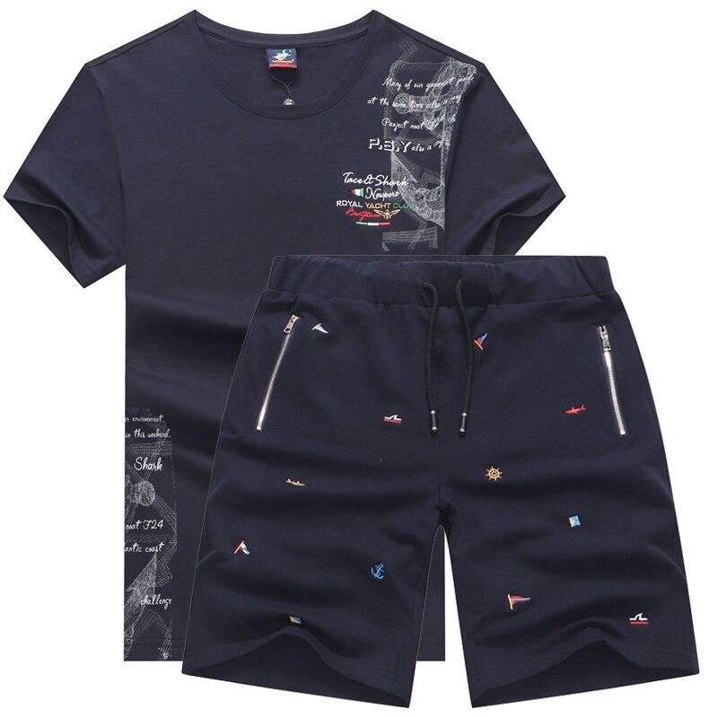 Summer Two Piece Set Men's Tracksuits Husband Brand Tace & Shark Man's T-shirt Shorts Cotton Jogging Sweatpants Mans Sportswear