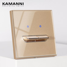 KAMANNI-interruptor de luz de lujo, interruptor de Reinicio de paleta de cristal templado estándar General, interruptores de pared de botón de empuje dorado, 220V