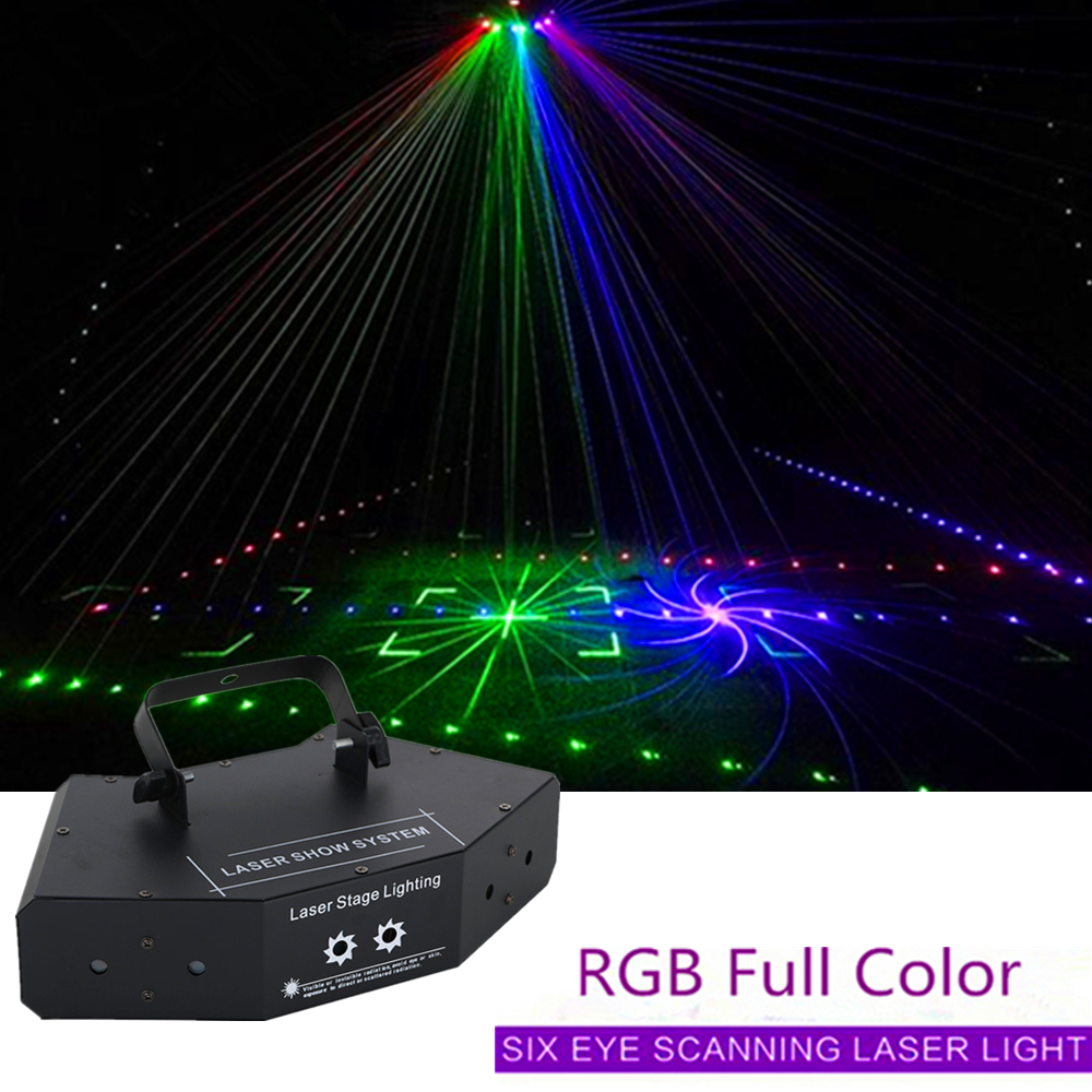 6 Eyes Laser Light DMX512 RGB Full Color Scan Laser Effect Lighting With Patterns KTV Bar Family Party Stage Laser Show System