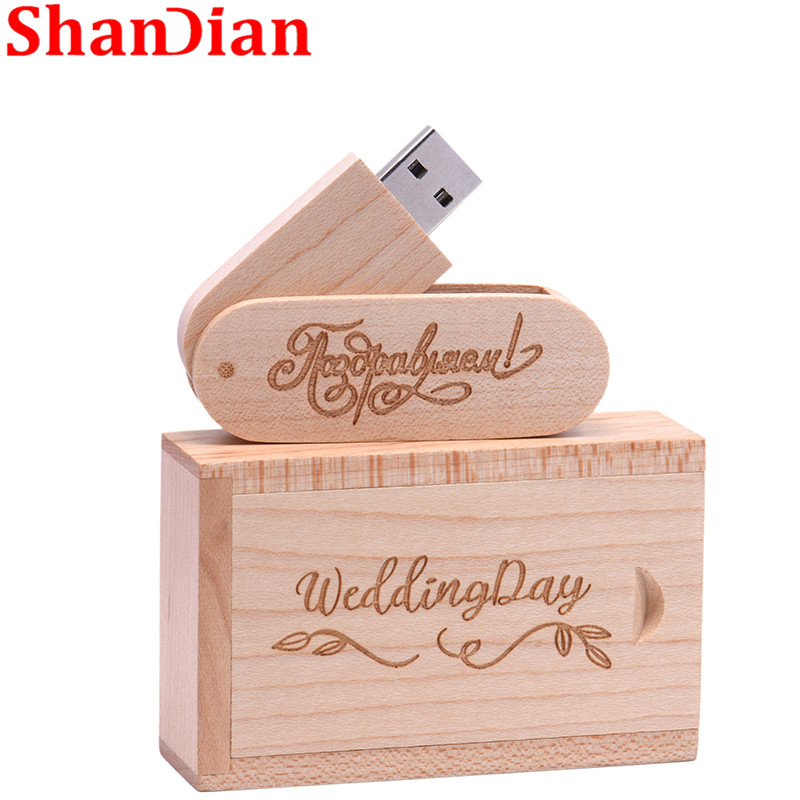 SHANDIAN  (over 1 PCS Free LOGO) Walnut Wood USB + Box Pendrive 4GB 8GB 16G 32GB USB Flash Drive Memory Stick Photography Gift