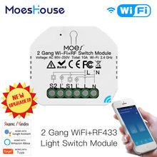 2 DIY WiFi inteligente RF433 módulo interruptor vida inteligente/Tuya APP Control remoto RF trabaja con Alexa Google 1/2 forma