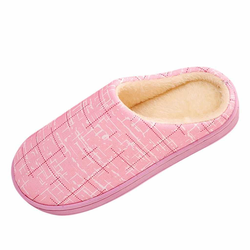 Schoenen vrouw Vrouwen Winter Thuis Slippers Gestreepte Flock Warm antislip Vloer Vrouwen Comfortabele Schoenen Voor Paar zapatos de mujer