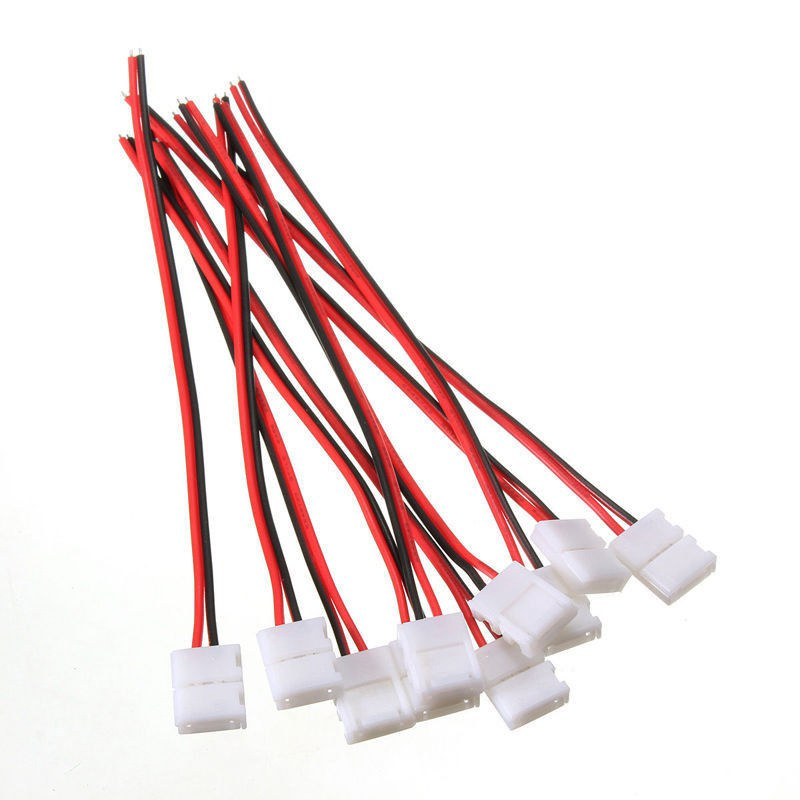 10Pcs PCB Cable 2 Pin LED Strip Connector 5050 Single Color Adapter 10mm