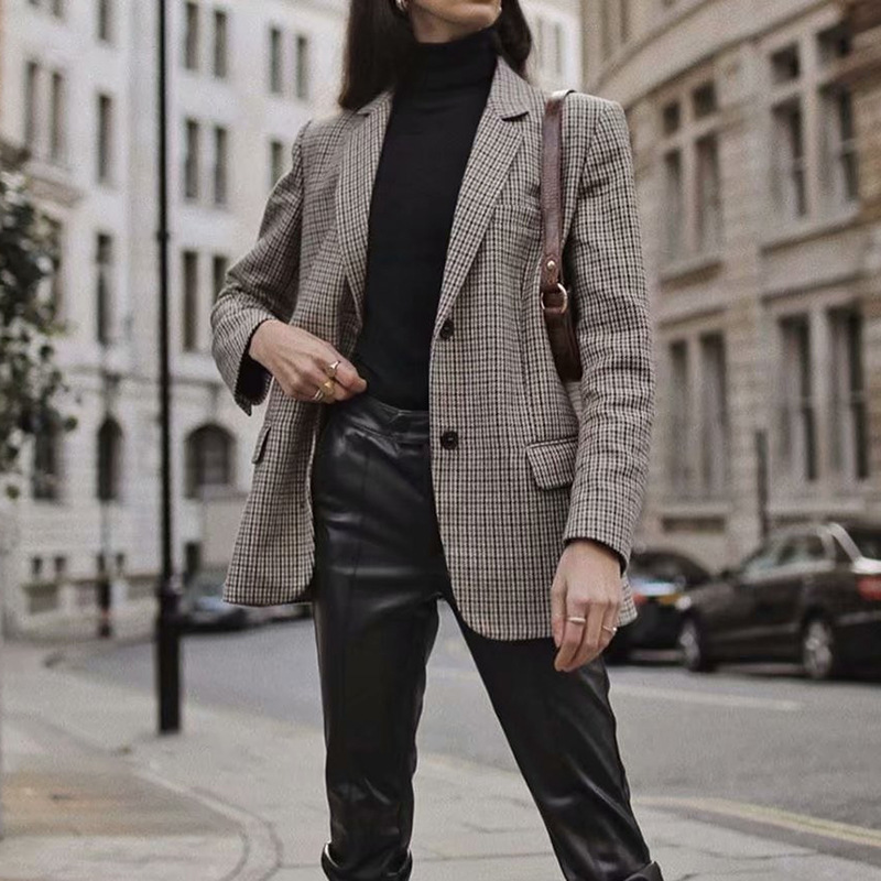 2020 Retro Single Breasted Blazer Women Fashion Houndstooth Plaid Long Sleeve Suit Notched Collar Office Lady Jacket Outwear