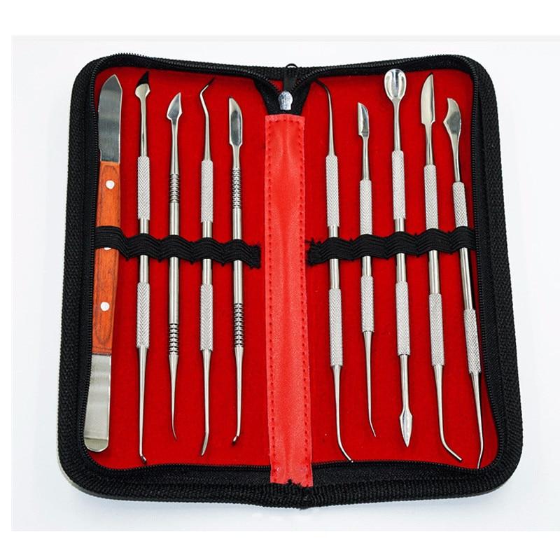 10pcs/set NEW Wax Carving Tool Set Stainless Steel Versatile Kit Dental Instrument Dental Lab Equipment With Holder Case