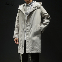 Autumn Korean Fashion Casual Men's Long Jacket Casual Trench Coat Loose Zipper H