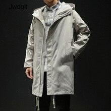 Autumn Korean Fashion Casual Men's Long Jacket Casual Trench Coat Loose Zipper H