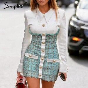 Image 4 - Simplee plus size bodycon vestido streetwear retalhos único breasted escritório vestido elegante senhoras outono blazer mini vestido