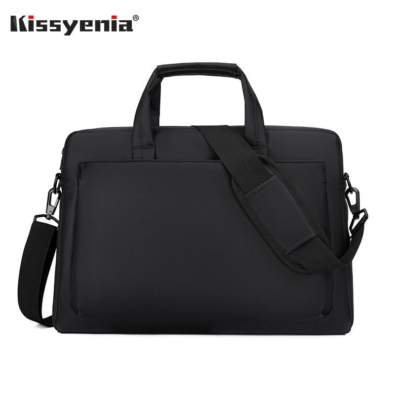 Kissyenia Solid Color 14inch Laptop Briefcase Men Waterproof Portable Computer Case Big Portfolio Man Travel Shoulder Bag KS1344