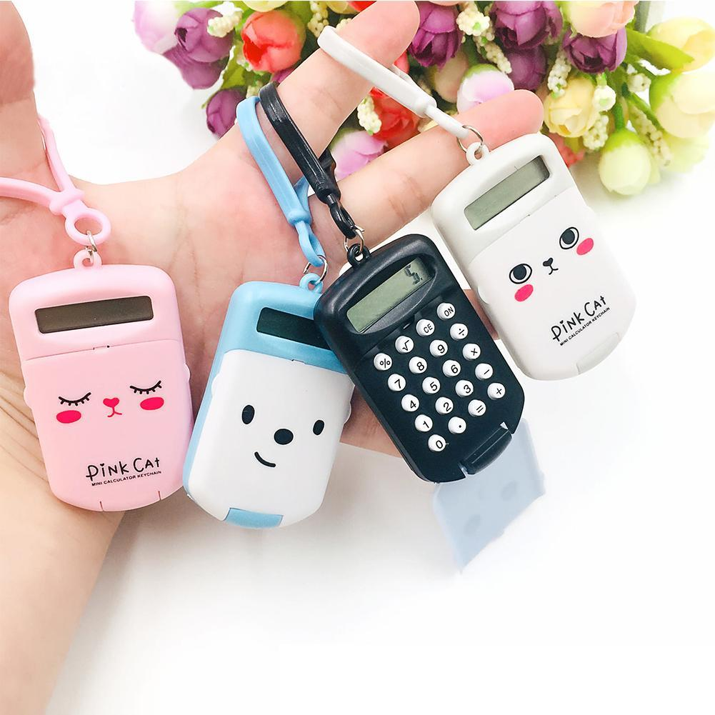 Portable Kawaii Mini Calculator Pocket Size 8 Digits Display Cartoon   Battery Cute Creative Keychain Calculator For School